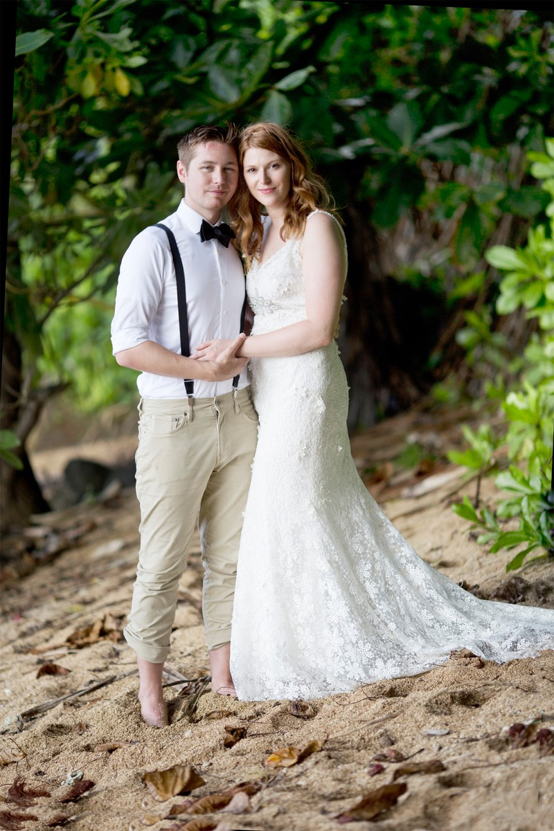 Kauai wedding photographer Difraser captured this photograph on the jungly beach known as Hideaways.