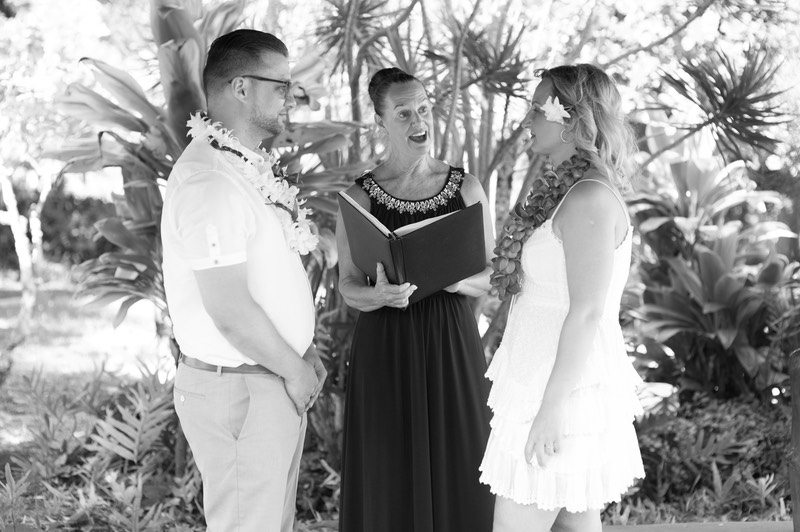 Julie D. Wirtz, Kauai Officiant with wedding couple