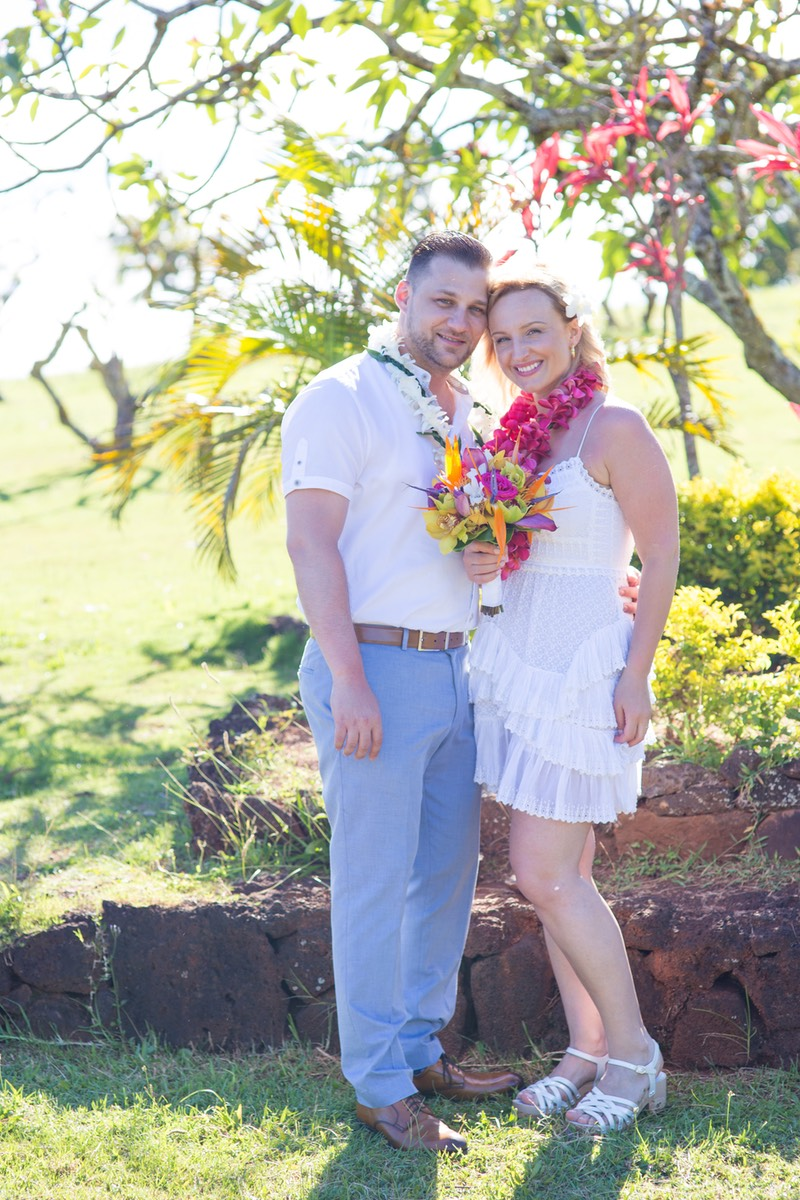 Wedding video clip of  bride and groom after ceremony west side  Kauai