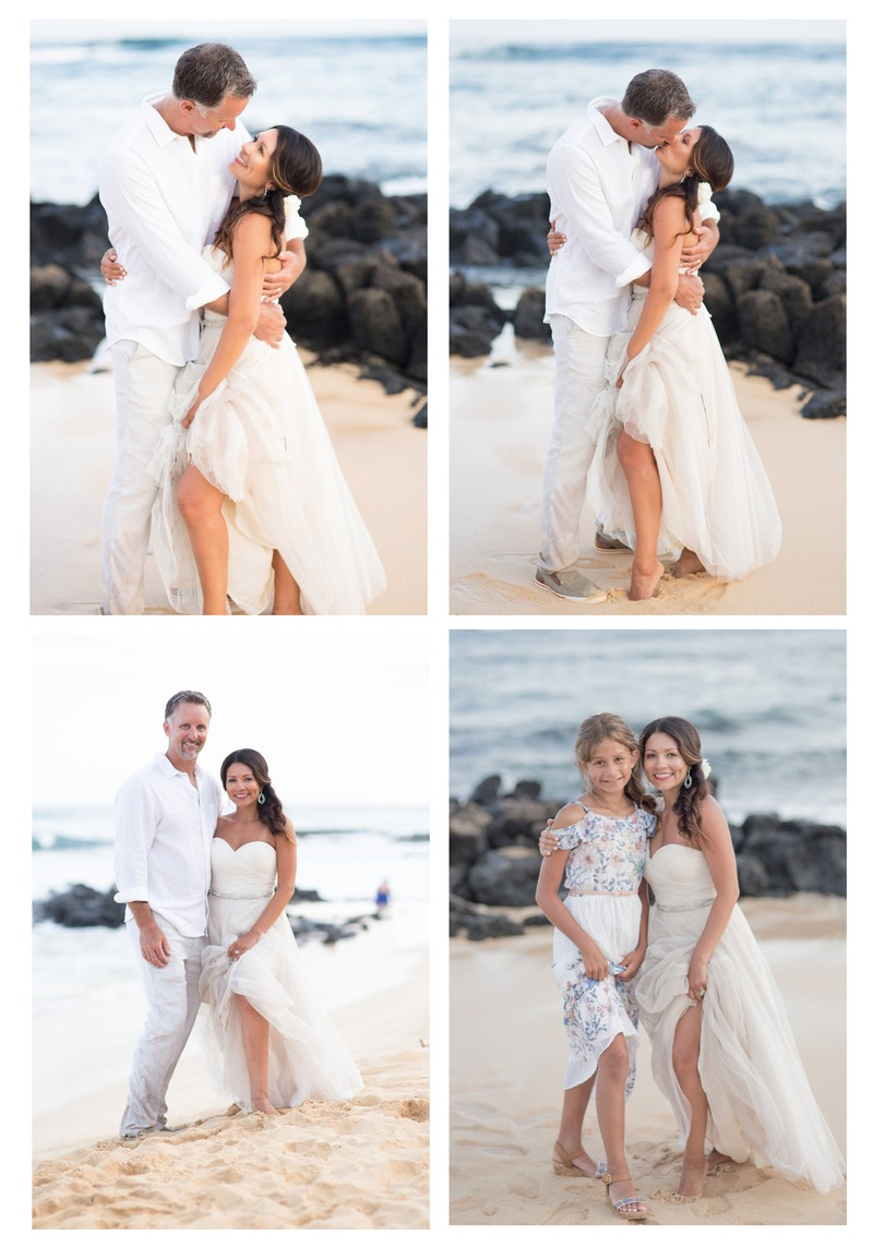 Portraiture session Poipu Beach, Kauai; photographer Difraser. The bride's daughter celebrates with Mom.