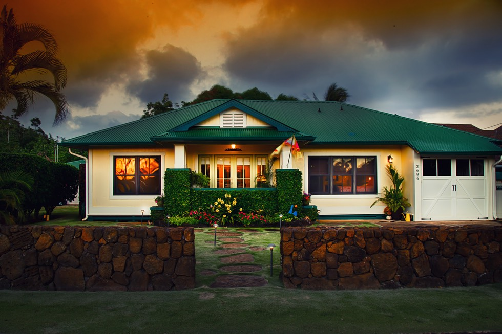 Filmed in Poipu  sunset hour, on a tripod, long exposure f.4. Real estate photography HDR by Kauai Video Productions
