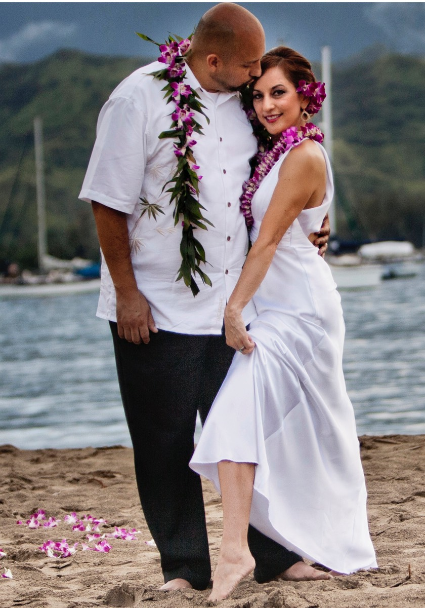 Hanalei bay wedding beach shot, by photographer and videographer Difraser